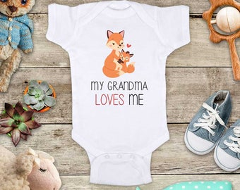 My Grandma loves me cute Foxes (d2) - Aunt Uncle Grandpa Godfather Short sleeve Baby bodysuit Toddler Youth Shirt baby shower gift surprise