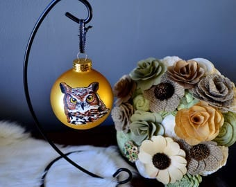 Great Horned Owl Ornament, Hand Painted Bird Ornament