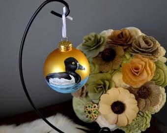 Ringneck Duck Ornament, Hand Painted Bird Ornament