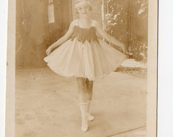 Antique Ballet Dancer Girl Snapshot | Outside Dancing Dance Costume Child Girls Children Photo Antique Photograph | Paper Ephemera |