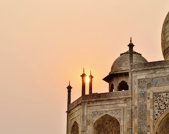 Taj Mahal Print, Indian Photography, India, Agra, Wall Art, Home Decor, Sunset, Golden Hour, World Wonder