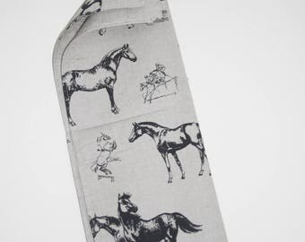 Luxury Linen and Cotton Tea Towel - Horse Design Dark Blue