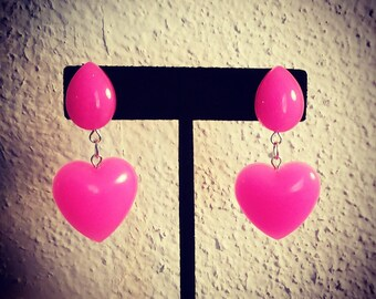 Hot pink heart drop earrings