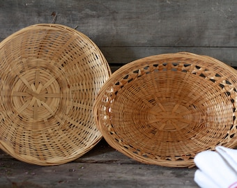 Set of 2. French vintage baskets. French wicker basket. French wedding basket. Bohemian basket. French sewing basket. French round basket.