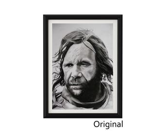 "11.69"" x 16.53"" Portrait drawing of Rory Mccann as Sandor Clegane The Hound in charcoal on paper"