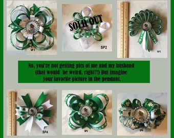 Custom Hair Bow, Choose 1 of 6 Personalized Hair Bow Accessories, Photo Barrette, St. Patrick's Day Hair Bow, Green Hair Bow, Custom Bow