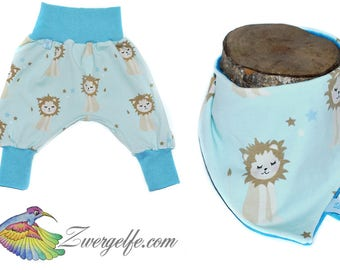 Baby set bloomers scarf lion cub (Biojersey) Blue
