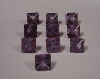 7MM Square Concave Vivid Genuine Purple Amethyst Gemstone Parcel
