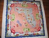 Vintage Florida State Map Tablecloth Orig. Label Sultan Creations Souvenir Unused Big Flamingos