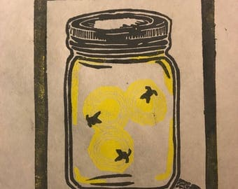 Fireflies in a Mason Jar Lino Set of 5 Cards