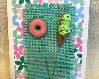 Polymer clay quilting pins: icecream and donut