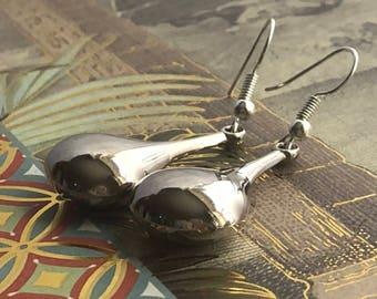 Silver Teardrop Beaded Earrings