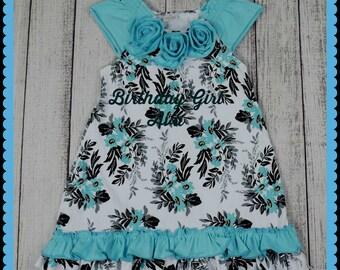 BabyGirlDress,GirlClothes,BirthdayDress,FloralDress,SpringtimeDress,BlackandTurquoise,RuffleDress,Babyshower,1stBirthdayDress