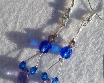 Lilac Teardrop earrings, blue earrings, purple earrings, original earrings, fashion earrings, stylish earrings