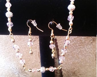 Pink sparkling necklace and earrings
