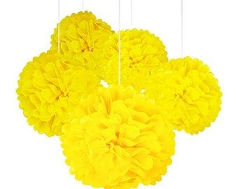 "A Set of 15 Pcs of 14"", 12"" and 10"" Tissue Paper Pom Poms Flower Balls For Birthday Wedding Baby Shower Party Decorations (YELLOW)- Kaleiddo"