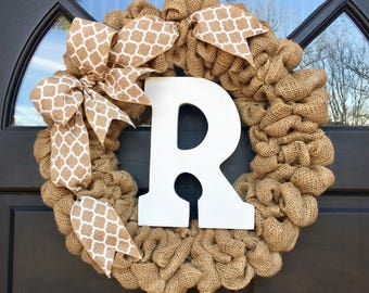 Personalized Burlap Wreath with Letter