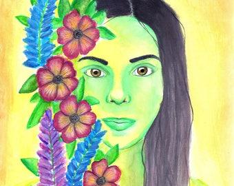 Art Print- Aurora in the Flowers