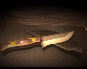 Handmade, High Carbon Steel, Fixed Blade, Camping/Hunting/Bushcraft/Collector Knife with kydex sheath, dymalux handles, brass mosaic pins