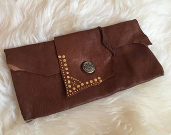 Handmade leather bag/wallet dotted