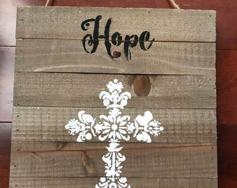 Cross and Hope Pallet wall hanging