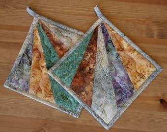 Batik Quilted Potholders, All Proceeds DONATED TO CHARITY!
