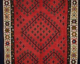 Old Turkish Sarkoy Kilim, Soft Red Colour, Circa 1950.