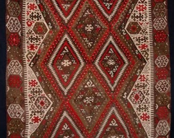 Old Turkish Fethiye Kilim, Classic Design & Colour, Circa 1940.