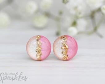Beige Pink Gold Stud Earrings, Trendy Earrings Stud, Simple Earrings Champagne, Woman gift,  Dainty Earrings, Wedding gift, Bridesmaid gift