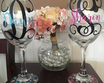Rhinestone Monogramed Wine Glass