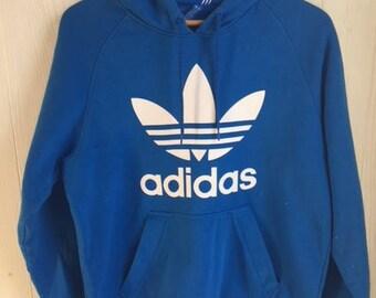 Vintage 90's Sapphire Blue Adidas Hoodie Sweatshirt, M, Sportswear