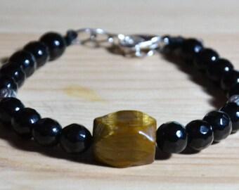 UNISX Bracelet Gift onyx stone and Tiger eye