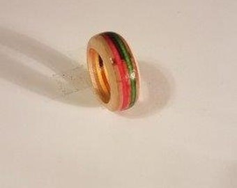 Rainbow Candy Stripe Wood Ring Or Toe Ring #2.  Any Size 3 - 17   / Handmade Jewelry