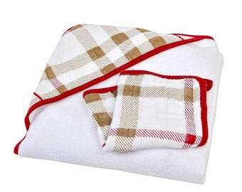 Plaid Hooded Towel +WASHCLOTH SET