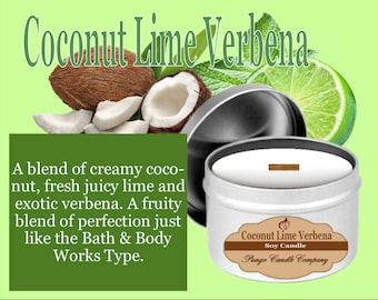 Coconut Lime Verbena Scented Soy Candle Tin (8 oz.)