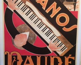 Original Vintage French Poster Pianos Daude 1970