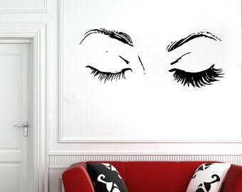 Wall Decal Window Sticker Beauty Salon Woman Face Eyelashes Lashes Eyebrows Brows 21