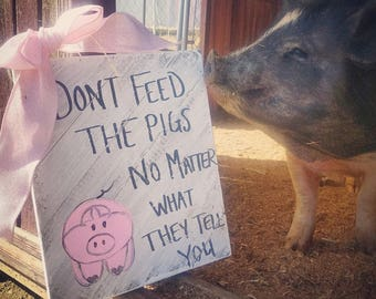 Don't feed the pigs sign