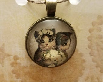 Bride and Groom Cats Pendant