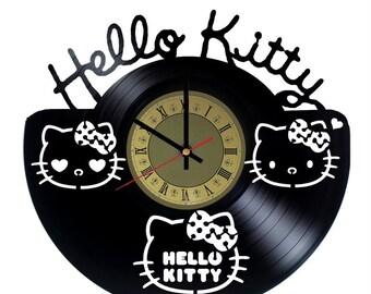 Pop Icon Hello Kitty Vinyl Clock Home Bedroom Living Kids Room Nursery Wall  Decor Gifts Idea