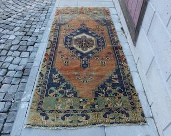 Oushak Rug Free Shipping 3.6 x 8.1 ft. Bohemian area rug, pastel color rug, faded rug, boho decorative rug, nomadic wool rug, MB341