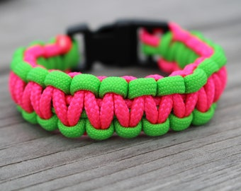 Pink and Green Paracord Bracelet