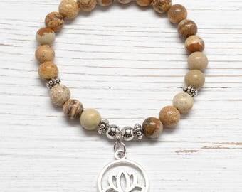Picture Jasper Mala Bracelet / Yoga Beads : Earth Energy Mala For Meditation & Intention Setting