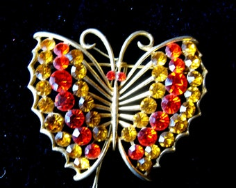 Vintage Rhinestone Butterfly Pin / Brooch signed Emmons