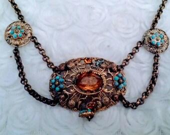 Antique citrine faux turquoise reniasaunce necklace