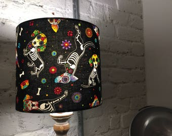 Day Of The Dead Pups, Timeless Textiles, , Handmade Lampshade; 20cm diameter