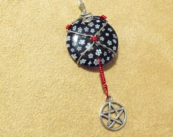 Blue Millefiori Glass & Pentacle Pendant