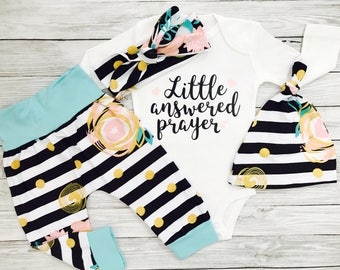 Newborn Girl Outfit, Newborn Girl Coming Home Outfit, Answered Prayer Newborn Outfit, infant Girl Outfits, Little Answered Prayer