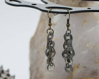 Bicycle Chain Slanted Ladder Earrings