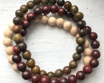 Natural Wood Bead Bracelets